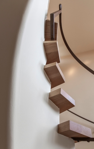 Ventura CA Hillside Residence | Main stairway looking up