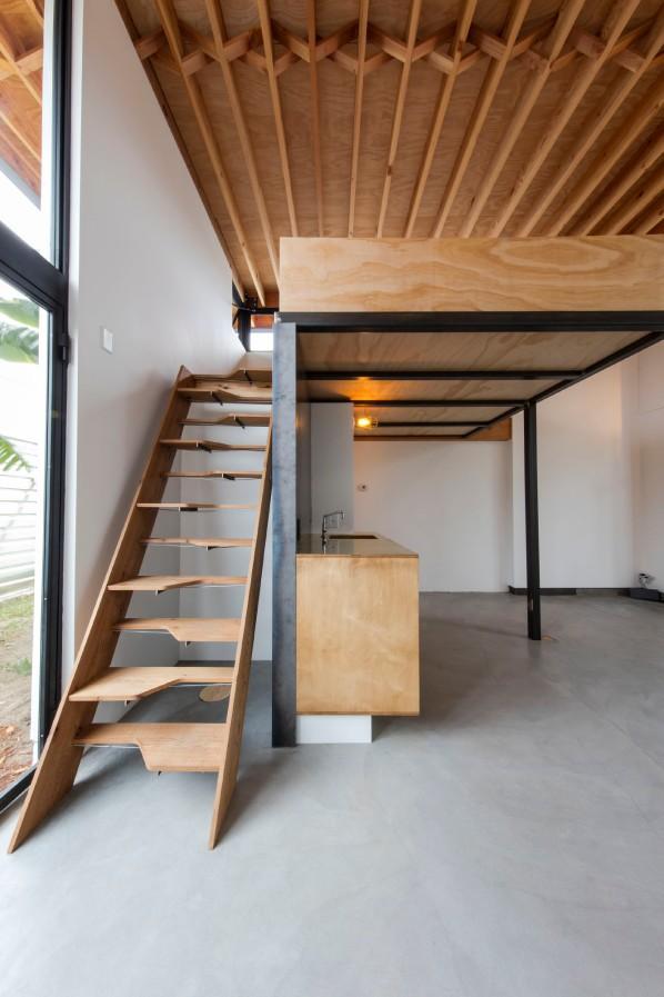 Alternate-treat stairway leads to sleeping loft