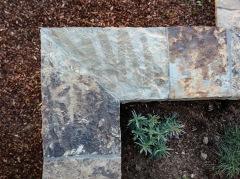Detail of flagstone planter
