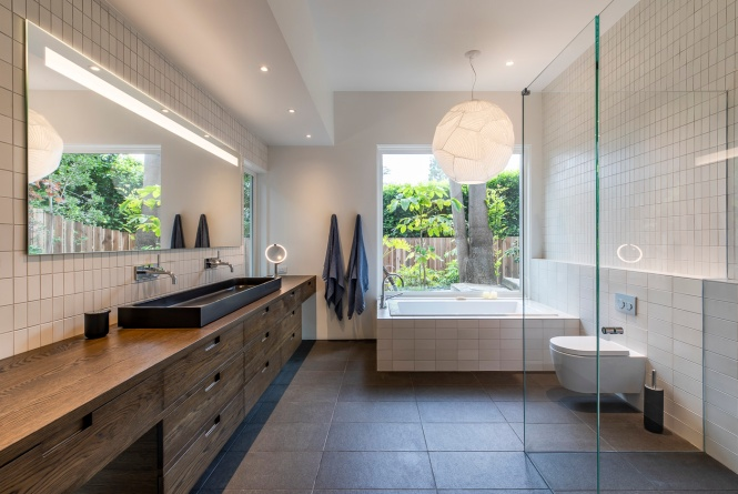 Master bath with Japanese-style soaking tub