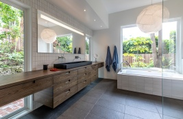 Heath tile on wall+tub surround; granite floor tile